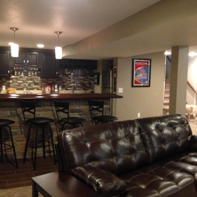 Beautiful Basement Bar And Entertaining Area